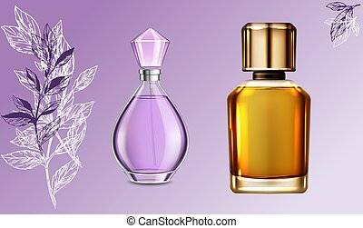 mock up illustration of couple perfume on abstract background