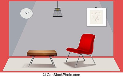 mock up illustration of realistic chair and table in living room