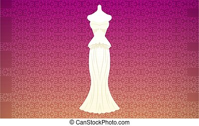 mock up illustration of wedding dress on abstract background
