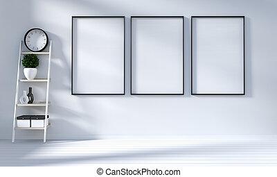 mock up Modern in white living room with white wooden floor. 3d rendering