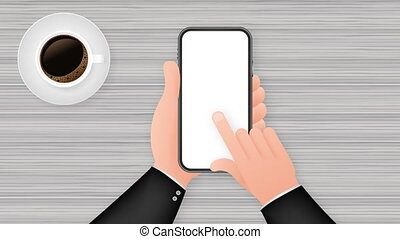 mock up of a blank daily newspaper, Coffee and smartphone. Fully editable whole newspaper in clipping mask. stock illustration