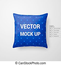 Pillow - Mock Up of a Blue Pillow Isolated on White...