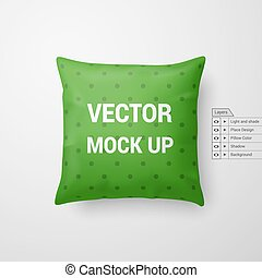 Pillow - Mock Up of a Green Pillow Isolated on White...
