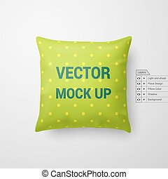 Pillow - Mock Up of a Pillow in Lime Color Isolated on White...