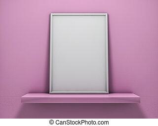 Mock up of blank frame poster on the shelf. 3D