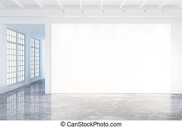 Mock up of blank poster in modern loft interior with big windows and concrete floor