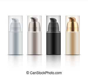 Mock up of cosmetic bottles.