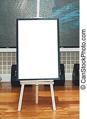 Mock up - painting on an easel at an exhibition or auction....