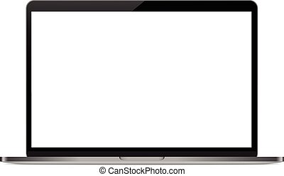 mock-up personal laptop computer on white background vector...
