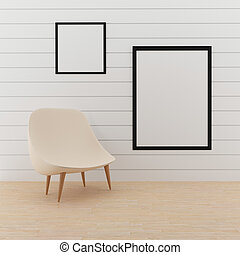 mock up photo frame with small chair in 3D rendering