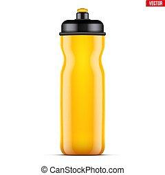 Mock-up Plastic Sport Nutrition Drink Bottle. Yellow color....