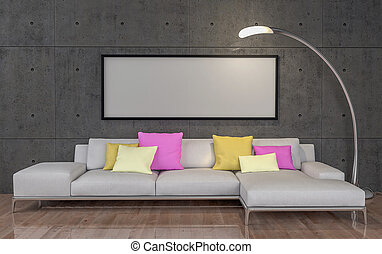 Mock up poster, big sofa, concrete wall background, 3d illustration
