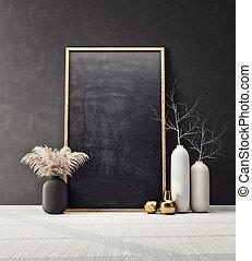 mock up poster frame in modern interior  room. Scandinavian...