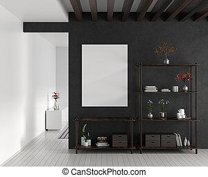 Mock up poster frame in Scandinavian style hipster interior. White modern interior. 3D illustration.