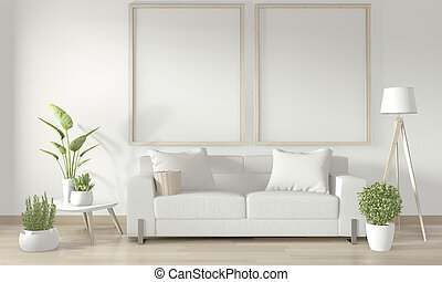 Mock up poster frame in white living room with white sofa and decoration plants on floor wooden.3D rendering
