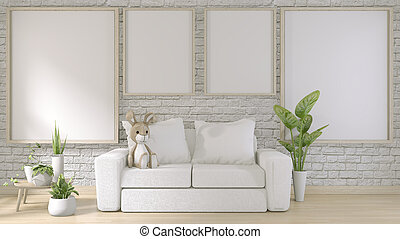 mock up poster frame on white brick wall room floor wooden with white sofa and decoration plants.3d rendering