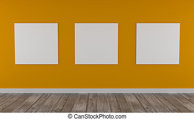 Mock up poster on yellow wall