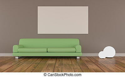 Mock up poster with green couch