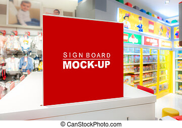 Mock up signboard inside department of children