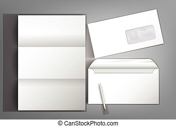 Mock Up template ready design with a envelope and pen blank letterhead