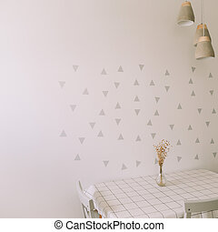 Mock up wall in modern kitchen interior. Kitchen table and chair. Cozy home. Minimal, Scandinavian style. Real photo