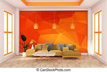 mock up wall in room modern orange style. 3d rendering