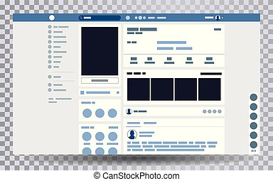 Mock up web page browser, concept of social page Interface on the laptop