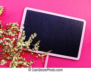 mockup, à, fleurs, espace vide, pour, texte