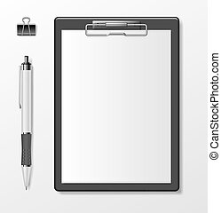 mockup., イラスト, 白板, ペン, 現実的, template., ペーパー, クリップボード, white., 隔離された, 黒, メモ用紙, 文房具, ブランク, ビジネス 文書, ベクトル