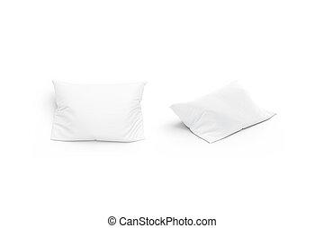mockup, セット, 隔離された, 枕, 前部, ブランク, 光景, 白, 側