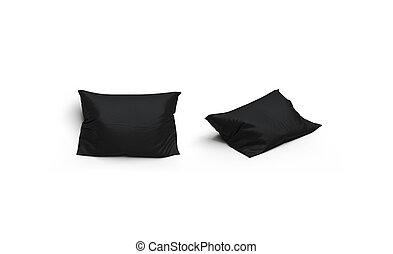 mockup, セット, 隔離された, 枕, 前部, 黒, ブランク, 光景, 側