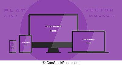 mockup., ラップトップ, コンピュータ, デザイン, 電子, 網, 使用, バックグラウンド。, 紫色, 隔離された, kits., プレゼンテーション, テンプレート, 白, 平ら, モニター, smartphone, タブレット, イラスト, 小道具, 装置, ベクトル, ui, 缶