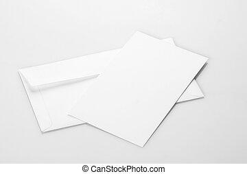 mockup, 招待, 封筒, ブランク, 白, カード