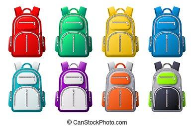 mockup., 旅行, ∥あるいは∥, 袋, スポーツ, 衣服, 別, ベクトル, 現実的, 学校, バックパック, 色, セット, 靴, バックパック, 3d, 有色人種
