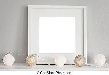 mockup, 框架, 場景, 白色