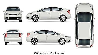 mockup, 白, 自動車, ベクトル
