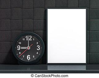 mockup, 相片, 在上方, 背景。, 空白, 白色, 框架, 3d