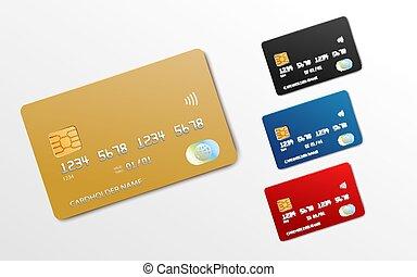 mockup, 青, セット, ∥あるいは∥, 現実的, 銀行, デビットカード, 金, カード, 黒, クレジット, 赤, -