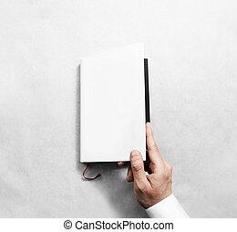 mockup, abertura, cobertura, mão, livro, em branco, branca, template.
