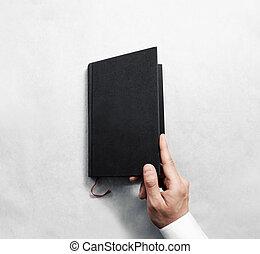mockup, abertura, cobertura, mão, livro, pretas, em branco, template.