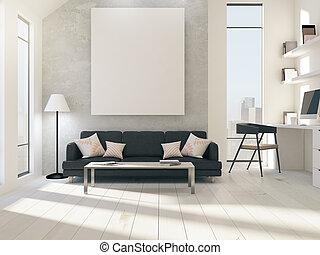 mockup, affisch, ovanför, soffa, in, rum