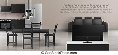 mockup, appartement, intérieur, studio