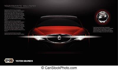 mockup, automobile, moderno, vettore, digitale, sport, rosso