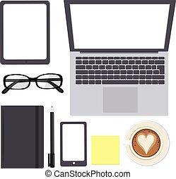 mockup, biuro, elementy