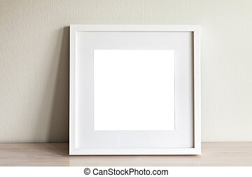 mockup, blanc, cadre, carrée