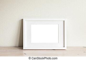 mockup, blanc, cadre, horizontal
