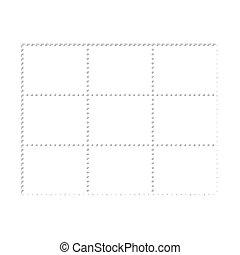 Mockup blank design six stamps block, philately paper template frames