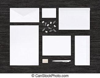 mockup, branding, cima, negro, plantilla, tabla, identidad, ...