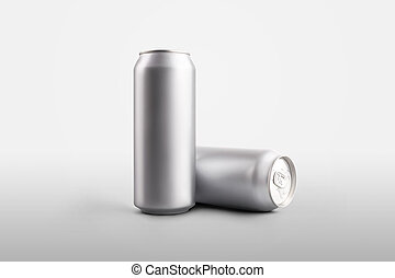 Mockup canned metal cans with a refreshing drink or water, a 500 ml tin bottle standing and lying on a white background.