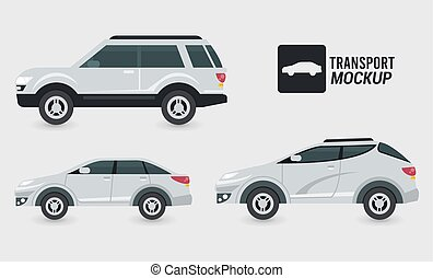 mockup cars color white isolated icons